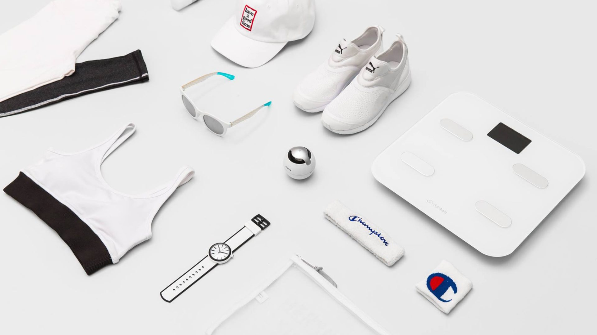 assortment of promotional products on a white table