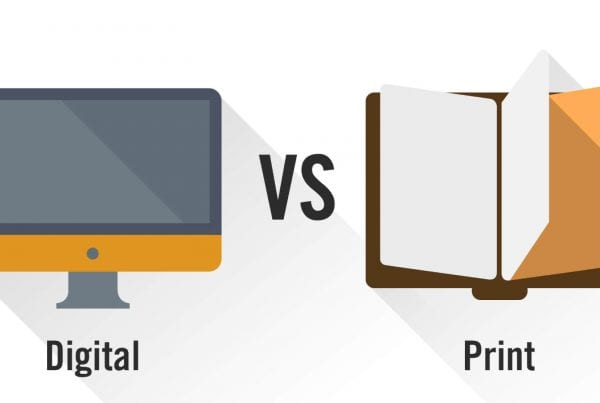 graphic image comparing print marketing to digital marketing