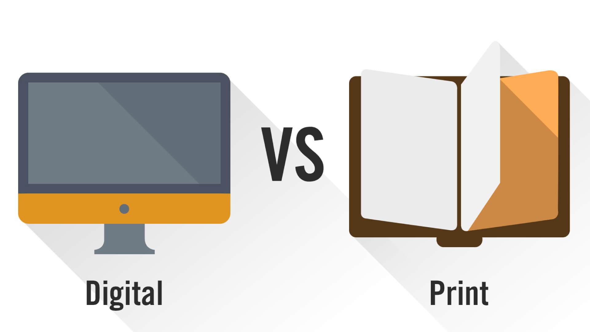 graphic image comparing print marketing to digital marketing
